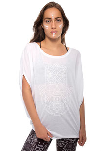 I AM VIBES – SHIRT  «WHITE BAT WING HAMSA TOP""