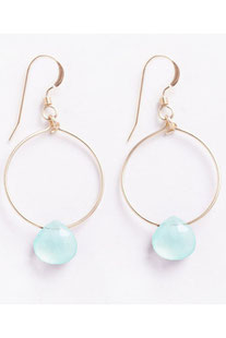 "WANDERLUSTLIFE - OHRRING ""MINI TUSCANY HOOP - SEA GLASS CHALCEDONY"""