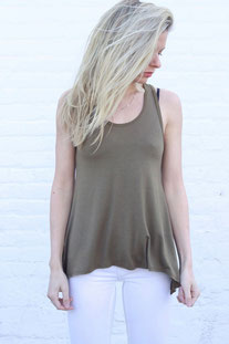 "JOAH BROWN TANK TOP ""PERFECT SHAPE TANK"" OLIVE"