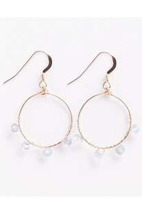 "WANDERLUSTLIFE OHRRING ""MINI BEADET WRAP HOOPS – AQUAMARINE"""