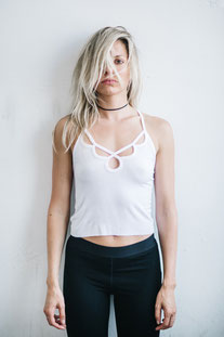 "JOAH BROWN – TANK TOP ""BELLS & WHISTLES CROP"" WHITE RIB"