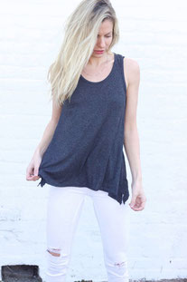 "JOAH BROWN TANK TOP"" PERFECT SHAPE TANK"" CHARKOAL"