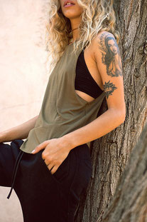 """JOAH BROWN TANK TOP """"LAZY DAY TANK"""" OLIVE"""