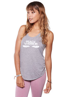 "BE LOVE – TANK TOP ""PEACE WARRIOR SHIRT TAIL TANK"" HEATHER GREY"