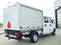 Elektro Transporter mit Kofferaufbau, Geräteaufbau