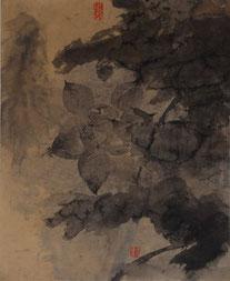 荷花37 LOTUS 37 56X46CM 纸本水墨与矿物色 INK & MINERAL COLOR ON PAPER 2004