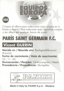 N° 205 - Vincent GUERIN (Verso)