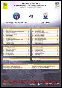 Feuille de match  PSG-Caen  2016-17