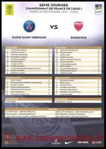 Feuille de match  PSG-Dijon  2016-17
