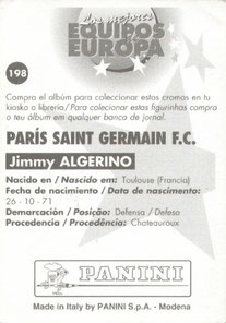 N° 198 - Jimmy ALGERINO (Verso)