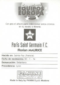 N° 203 - Florian MAURICE (Verso)