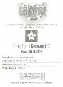 N° 196 - Paul LE GUEN (Verso)