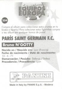 N° 204 - Bruno N'GOTTY (Verso)