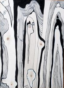 Venus d'ailleurs n° 3, encre de Chine sur bois
