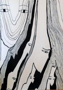 Venus d'ailleurs n° 5 , encre de Chine sur bois