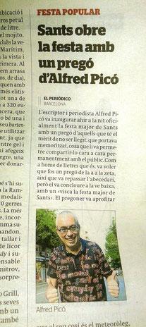 La premsa explica el pregó de l'Alfred Picó a la Festa de Sants