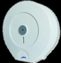 Despachador /Dispensador  de papel higiénico mini PH51300 Color: Blanco con base gris Dimensiones en milímetros: Alto: 280 Largo: 270 Ancho: 125 Capacidad: 1 rollo máximo de 300 m de papel Contenido por caja: 2 piezas