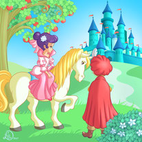 children illustration_prince and princess riding horse go toward the castle