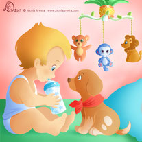 children illustration_little baby meets little dog puppy for the first time