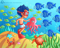 a little sub boy plays under the sea with an octopus , sea turtle, starfish, crab and  herds of fishes