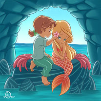 children illustration_prince puts a flower between mermaid hairs in a sea cave