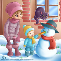 children illustration_chil giving nose to snowman