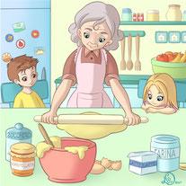 children llustration_grandchildren watching grandma making a cake
