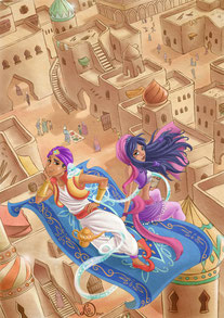 fairy tale illustration_Aladdin, the genius and the princess fly together on the magic carpet