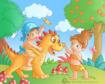 a child take a ride on a little happy yellow dragon and a little girl touch his big nose