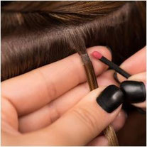 Bild: Haarverlängerung Verbindungsstellen Nano Bonds Nahansicht