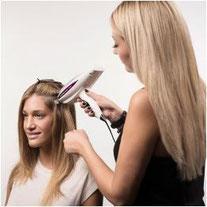 Bild: Haarverlängerung Verbindungsstellen Nano Bonds anmodulieren