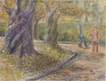 秋の遊歩道   オイルパステル6号