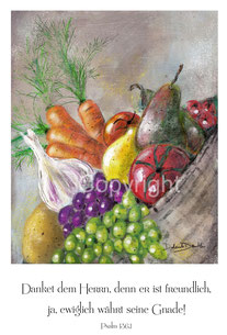 Früchte Gemüse im Korb Erntedank Danket dem Herrn
