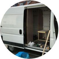 Wohnmobilausbau - Der Kastenwagen während des Umbaus zum Wohnmobil