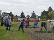 Mit vielen Helfern kam die Baumpflanzaktion schnell voran