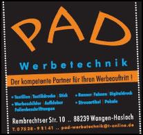TTF 81 Schomburg e.V. Sponsor PAD Werbetechnik, Haslach