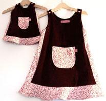 Lumpenprinzessin Genähtes Kleid und Puppenkleid aus rosa Cord mit Blumen, Blumencord - ein Traum für kleine Puppenmamas Handarbeit Nähen