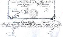 Pie y firmas 25 pesos 1813 Puerto Rico