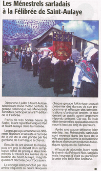 Groupe folklorique de Sarlat à la Félibrée de Saint-Aulaye