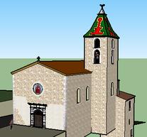 Etude de l'église avec son ancienne toiture en tuile vernissés.