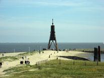 Das Wahrzeichen Cuxhavens ist die Kugelbake