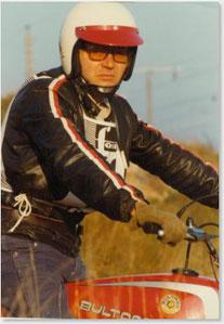 1977 Walter Gsöll sen. auf Bultaco, seinem ersten Vollblut Trial Motorrad