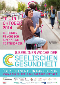 Plakat 8. Berliner Woche der Seelischen Gesundheit - Psychisch krank und mittendrin ?!