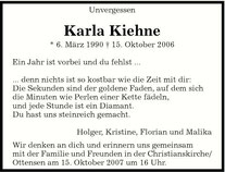 Karlas Traueranzeige