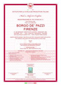 Certificaat van 100% made in Italy