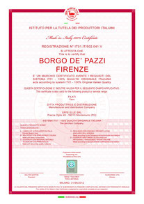 Certificaat van 100% made in Italy
