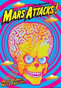 mars attack,tim burton,sci fi, aliens, ufo,robot,cinema, movie,jack nicholson, sarah jessica parker,natalie portman,pierce brosnan,locandina cinema,mars attack poster