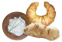Bildnachweis: fotolia (Kartoffel), A. Welzenbach (Hörnchen, Ziebeleskäs)