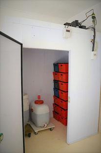 chambre froide pour la garde de la bière de la brasserie ''la Mousse du Guiers de savoie