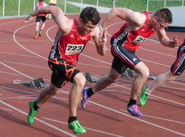 Lorenz Lichtenthäler und Jonas Mockenhaupt beim 100 Meter-Start
